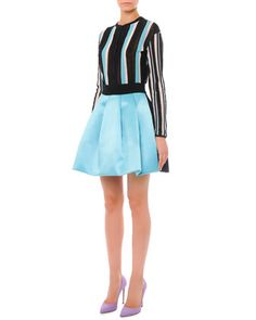 Vertical-Stripe Cardigan Sweater and Bicolor Pleated A-Line Skirt by Fausto Puglisi at Bergdorf Goodman.