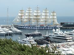 """""""Royal Clipper"""" next to private yachts in Monaco."""