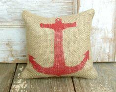 Anchor  - Burlap Feed Sack Doorstop - Nautical  Design