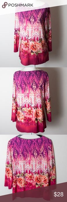 Investments Flower Pink Graphic Top Large Purple Investments top from Dillards. Size large. Jewel neckline, 3/4 sleeves, very soft and forgiving with a polyester spandex blend. Pink, purple, white, green and orange. Floral pattern. Perfect for spring and summer. Preloved condition. No noticeable holes, stains or rips. Investments Tops