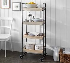Small Spaces | Pottery Barn Great for extra storage in my small kitchen and can be moved if need be #mypotterybarn