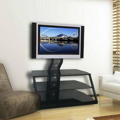 TV Stand Mounted Tilts Entertainment Center 3 Open Black Glass Storage Shelves #RSM #Modern