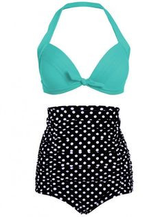 """Shop for Women's """"Polka Dot"""" High Waist Bikini by Pretty Attitude Clothing (More Options) at Inked Shop. We've got coupon codes and discounts everyday!"""