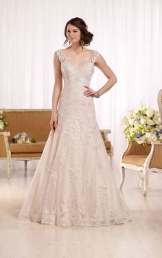 D2167 A-line wedding dress with embellished sweetheart neckline by Essense of Australia