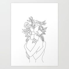 Blossom Hug Poster by Banish those blank walls: Posters are the most convenient way to bring Line Sketch, Line Drawing, Art Sketches, Art Drawings, Art Minimaliste, Minimal Art, Fashion Wall Art, Canvas Artwork, Female Art