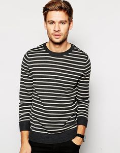 """Sweater by Selected Lightweight knitted fabric Crew neck Button shoulder detail Ribbed trims Regular fit - true to size Machine wash 50% Acrylic, 50% Wool Our model wears a size Medium and is 183cm/6'0"""" tall"""