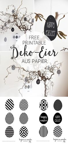 {DIY} Geometrische Deko-Eier aus Papier in black & white & free printable DIY & Deko-Eier aus Papier & free printable The post {DIY} Geometrische Deko-Eier aus Papier in black & white & free printable & Ostern easter appeared first on Geometric decor . Easter Printables, Free Printables, Diy Party Dekoration, Spring Decoration, Scrapbook Paper, Scrapbooking, Papier Diy, Diy Ostern, Geometric Decor