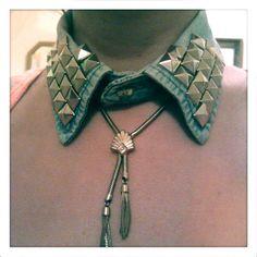 17 Interesting And Popular DIY Ideas, DIY Denim Studded Collar: The Perfect Fall Accessory