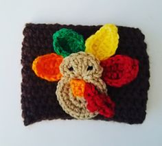 Ravelry: Turkey Cup Cozy pattern by Brooke Rabideau Thanksgiving Crochet, Holiday Crochet, Halloween Crochet, Thanksgiving Crafts, Crochet Coffee Cozy, Crochet Cozy, Free Crochet, Turkey Cup, Turkey Pattern