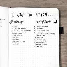 my current list of movies/shows that i want to watch! 🎞📺 give me more suggestions in the comments 👀 PS so sorry for the delay on this weeks video! Bullet Journal Tracker, Bullet Journal 2019, Bullet Journal Hacks, Bullet Journal Notebook, Bullet Journal Spread, Bullet Journal Ideas Pages, Bullet Journal Layout, Bullet Journal Inspiration, Journal Pages