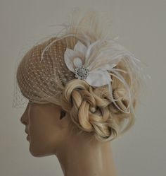 Birdcage Veil peacock Feathers Fascinator2 by SnowWhiteStudio, $69.00