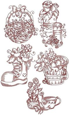 Redwork Embroidery Patterns | Redwork Garden Set I (Now 20% Off!)