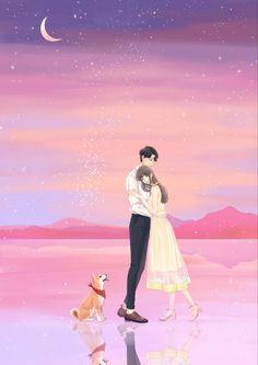 Cute Couple Drawings, Cute Couple Art, Anime Love Couple, Cute Couple Wallpaper, Cute Anime Wallpaper, Cute Cartoon Wallpapers, Beautiful Nature Wallpaper, Anime Best Friends, Digital Art Girl