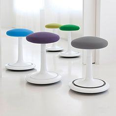 The ONGO seat is not only a comfortable and beautifully designed stool, it also promotes active sitting to ease tension, strengthen the back and improve posture Library Furniture Design, Library Design, Library Ideas, Flat Files, Office Seating, Ergonomic Chair, Home Wallpaper, Take A Seat, Unique Home Decor