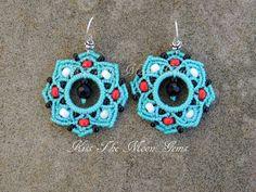Turquoise Boho Macrame Flower Earrinngs