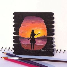 Drawing Doodle A women walking on the beach staring at the beauty of the sun light. Craft Stick Crafts, Cute Crafts, Popsicle Stick Art, Wow Art, Creative Artwork, Belle Photo, Painting & Drawing, Woman Painting, Amazing Art