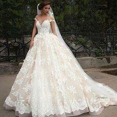 Lovelybride Bateau mit Fl¨¹gel?rmeln SpitzeAppliques Ballkleid Hochzeitskleid…