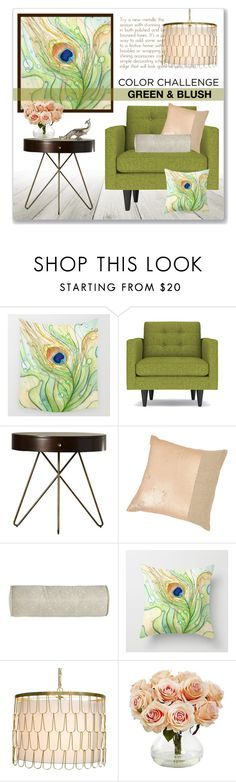 """""""Green And Blush"""" by leanne-mcclean ❤ liked on Polyvore featuring interior, interiors, interior design, home, home decor, interior decorating, Kelly Hoppen, Peacock Alley, Worlds Away and Nearly Natural"""