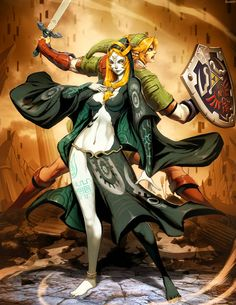 Zelda - Midna and Link.so you could continue playing Twilight Princess with a completely free-play plot and go back and forth from the Twilight and talk to Midna and explore new places. The Legend Of Zelda, Legend Of Zelda Breath, Zelda Twilight Princess, Link And Midna, Link Zelda, Fan Art, Game Character, Character Design, Hyrule Warriors