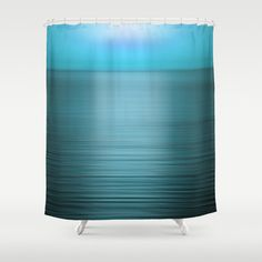 Blue Sea at Sunset Shower Curtain, Washable Fabric, Aqua Bathroom Decor - pinned by pin4etsy.com