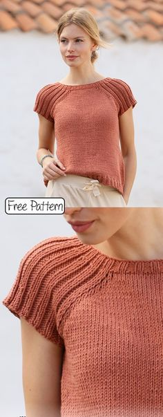 Free knitting pattern for a summer tee mode Free Knitting Pattern for Ladies Tops Sweater Knitting Patterns, Knitting Stitches, Knit Patterns, Free Knitting Patterns For Women, Knitting Tutorials, Knitting Machine, Beginner Knitting Patterns, Knit Cardigan Pattern, Knitting Sweaters