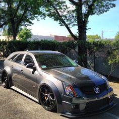 Cadillac Custom Widebody CTS-V Wagon - Grey Silver Slate Lowered Cadillac Ats, Cts V Wagon, Shooting Brake, Big Trucks, Hot Cars, Swagg, Motor Car, Custom Cars, Cars And Motorcycles