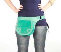Aqua leather bag hip belt belt bag utility belt by Shovavaleather, $119.00