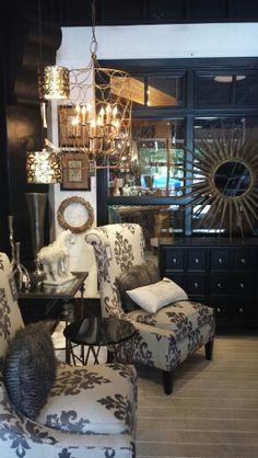 Living room gray white cream gold rustic modern chair decor black
