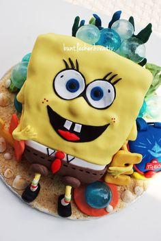 Spongebob Torte zum Schulanfang/ Schulstart ...mit Gelatine bubbles...viele Details für glückliche Kinder...bunt, lecker und kreativ