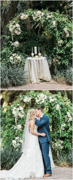Romantic wedding ceremony arbor, outdoor garden wedding, pink and white florals, overflowing greenery, see the full wedding feature on borrowedandblue.com // Lucas Rossi Photography