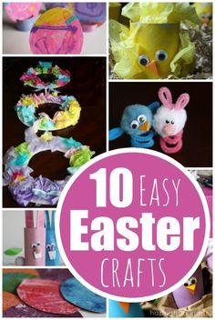 10 Easy Easter Crafts for Kids - bunnies, chicks, nests, eggs, wreaths and more.  Lots of easy, adorable crafts for preschoolers, toddlers and older kids to make for Easter - Happy Hooligans