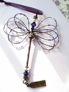 Purple Dragonfly Suncatcher, Fibromyalgia Awareness, Swarovski Crystals, Czech Beads, Wire Wrapped, Inspirational, Handmade, Wire Sculpted