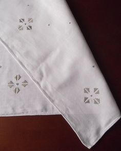 Vintage German embroidered tablecloth with modernist pattern -- beige square -- from Germany