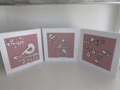 Trio quadrinhos Pássaros rosa - Elo7