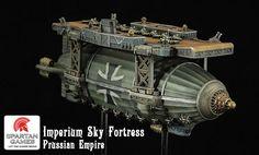 Dystopian Wars: by Spartan games: Prussian Imperium Sky Fortress Steampunk Artwork, Steampunk Airship, Gothic Steampunk, Steampunk Clothing, Victorian Gothic, Dieselpunk, Steampunk Fashion, Gothic Lolita, Warhammer 40k
