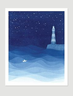 Bedroom print lighthouse watercolor painting stars by VApinx #lighthouse #art #print #illustration #ocean #night #waves