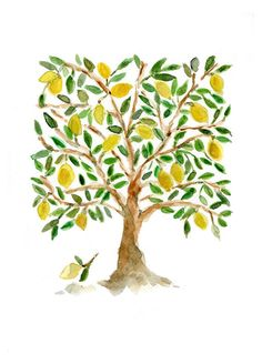 Art Print The Lemon Tree, Lemon tree print, lemon watercolor print, Folk Art inspired tree, Tree pri Lemon Watercolor, Tree Watercolor Painting, Watercolor Print, Lemon Painting, Tree Illustration, Tree Print, Mellow Yellow, Art Plastique, Etsy