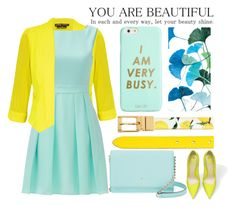 """""""♡"""" by mithaafatimah ❤ liked on Polyvore featuring City Chic, Kate Spade, Grandin Road, Dolce&Gabbana, ban.do, yellow, Blue and plus size clothing"""
