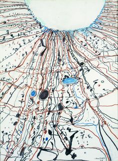 John Olsen | The Simpson Desert Joining Lake Eyre 1977  pastel on paper, 79.5 x 58.5 cm