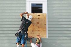 Unless your home is equipped with hurricane shutters, an approaching storm means you'd better get busy putting plywood over your windows. Plywood is inexpensive, readily available (as long as you don't wait until the last moment to shop), and has 30 percent greater impact strength than OSB. Insurance industry groups recommend 5/8-inch-thick, exterior-grade  plywood, at minimum.