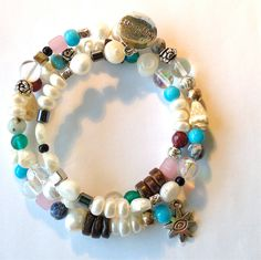 Beachy Pearl Memory Wire Bracelet by ZhiJewelry on Etsy