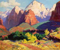 Buy the oil painting reproduction of Pinnacle Rock, Zion National Park in Utah 1928 by Franz Bischoff, Satisfaction Guaranteed, ***** 30 days money-back! Pinnacle Rock, Zion National Park in Utah 1928 oil painting replica. Zion National Park, National Parks, Zion Park, Landscape Art, Landscape Paintings, Gravure Photo, Art Du Monde, American Impressionism, Mountain Art