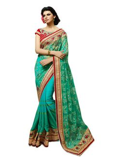 Green Color Net & Georgette Saree. By Saryu Sarees on Shimply.com