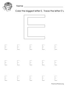 letter e printable worksheet