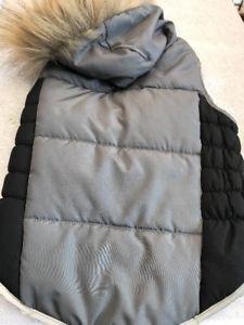 Dog Coat Jacket Size M Pet Clothes Grey With Black Flanks Fur Trimmed Hoodie    eBay