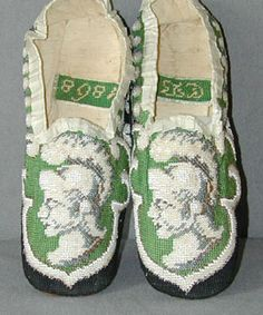 Men's beaded and embroidered slippers, c. 1868.