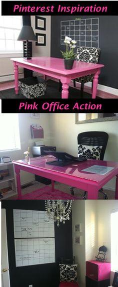 Love the pink office desk, chalk board wall not working well...  #pink office desk, #pink office decor #chalkboard wall