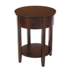 Bay Shore Collection Round Side Table with Round Accent, Espresso by Bay Shore Collection. $134.99. Get rid of those old clunky square end tables and step it up to round. The bay shore collection round side table also has a lower shelf which is great for display. Accent furniture is a great way to completely change the look and feel of your living and entertaining space. The assembled dimensions of the round side table are 17.5-inch length by 17.5-inch deep by 22.4-inch heig...