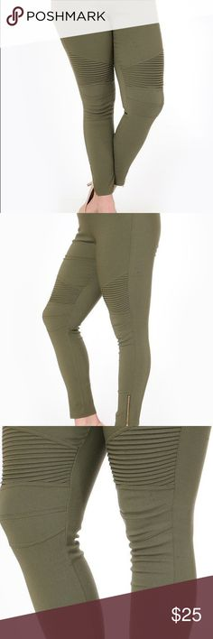 Olive Moto Leggings Stetchy moto leggings with zippered ankle. These are sized 1XL/2XL. Pants Leggings