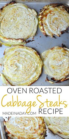 Roast #Cabbage slices in the oven, oven roasted cabbage steaks, Roasted cabbage slices, roasted cabbage, baked cabbage steaks, how to make cabbage steaks, garlic #roasted cabbage steaks, grilled cabbage, low carb cabbage recipes, low carb recipes,  via @madeinaday